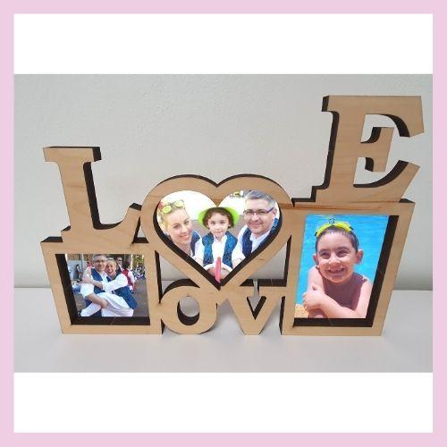 marco para 3 fotos love